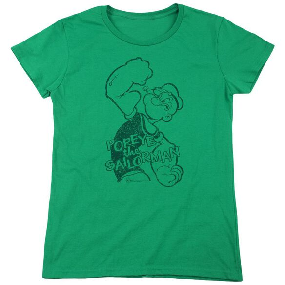 Popeye Spinach Strong Short Sleeve Womens Tee Kelly T-Shirt