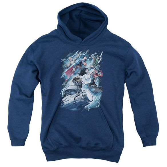 Jla Ride The Lightening Youth Pull Over Hoodie