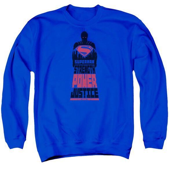 Batman V Superman Super Justice Adult Crewneck Sweatshirt Royal