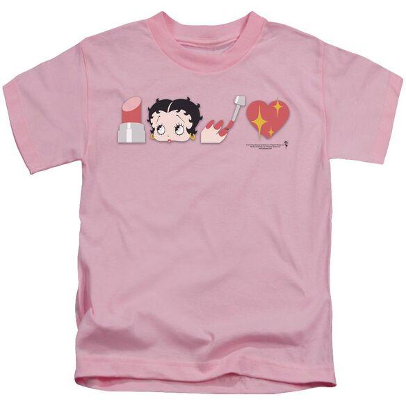 Betty Boop Symbols Short Sleeve Juvenile Pink T-Shirt