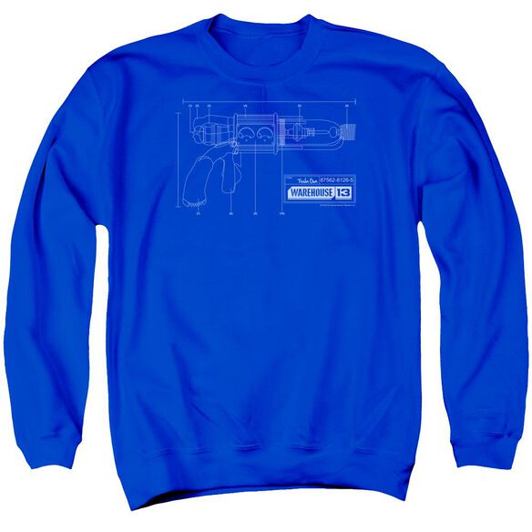 Warehouse 13 Tesla Gun Adult Crewneck Sweatshirt Royal