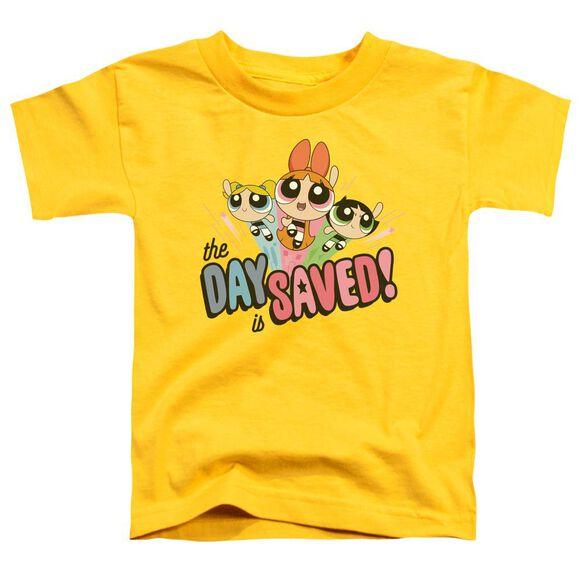 Powerpuff Girls The Day Is Saved Short Sleeve Toddler Tee Yellow T-Shirt