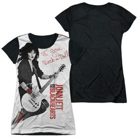 Joan Jett Rock N Roll Short Sleeve Junior Poly Black Back T-Shirt