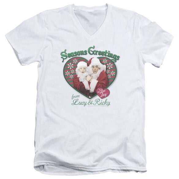 I Love Lucy Seasons Greetings Short Sleeve Adult V Neck T-Shirt