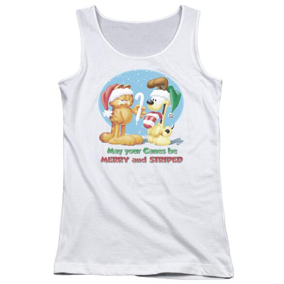 Garfield Merry And Striped Juniors Tank Top