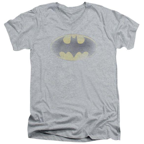 Batman Faded Logo Short Sleeve Adult V Neck Athletic T-Shirt