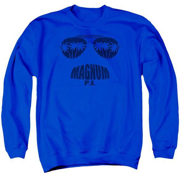 Magnum Pi Face It Adult Crewneck Sweatshirt Royal