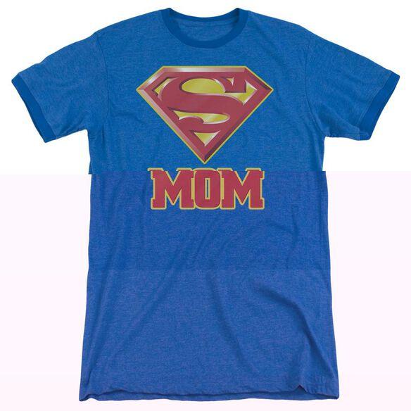 Superman Super Mom - Adult Heather Ringer - Royal Blue