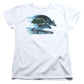 Beware The Batman With Batmobile Short Sleeve Womens Tee T-Shirt