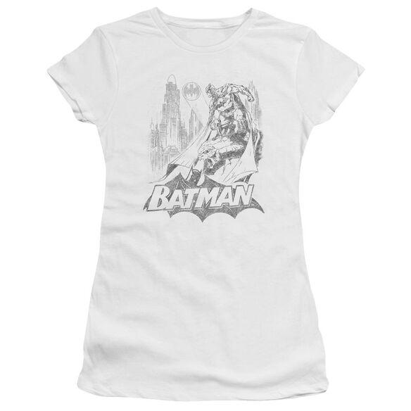Batman Bat Sketch Short Sleeve Junior Sheer T-Shirt