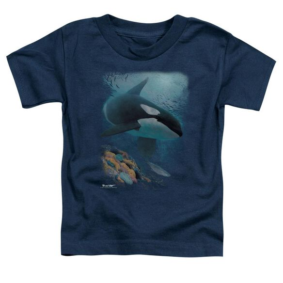 Wildlife Salmon Hunter Orca Short Sleeve Toddler Tee Navy T-Shirt