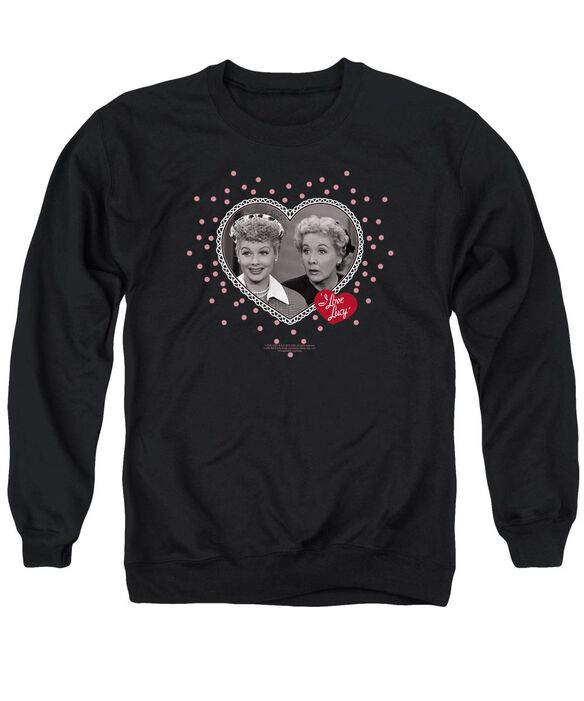 I Love Lucy Hearts And Dots Adult Crewneck Sweatshirt