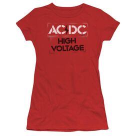 Acdc High Voltage Stencil Short Sleeve Junior Sheer T-Shirt