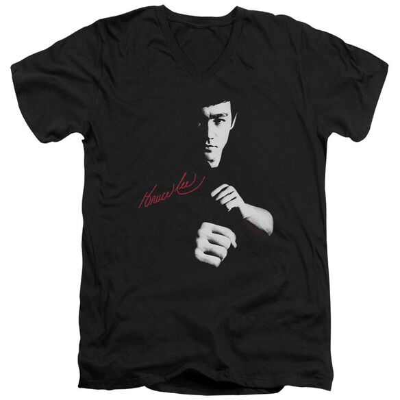 Bruce Lee The Dragon Awaits Short Sleeve Adult V Neck T-Shirt
