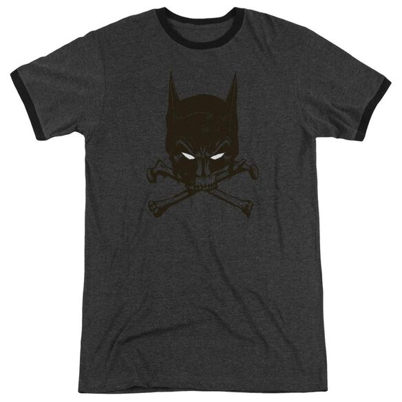 Batman Bat And Bones Adult Heather Ringer Charcoal