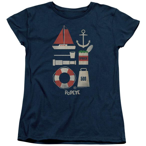 Popeye Items Short Sleeve Womens Tee T-Shirt