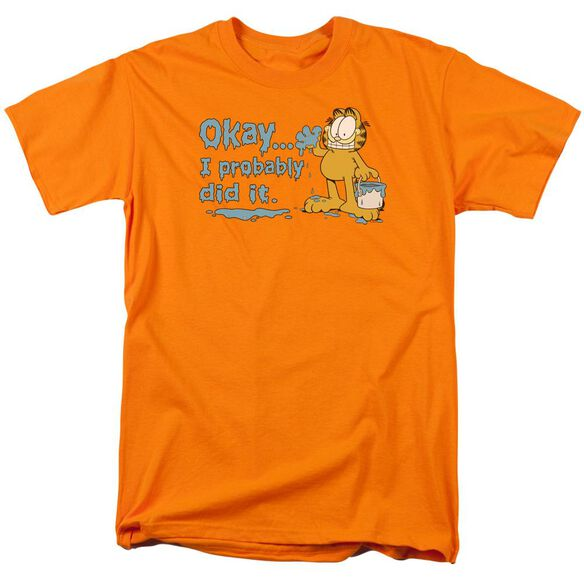 Garfield I Probably Did It Short Sleeve Adult Orange T-Shirt