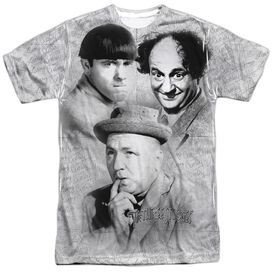 Three Stooges Signature Short Sleeve Adult Poly Crew T-Shirt