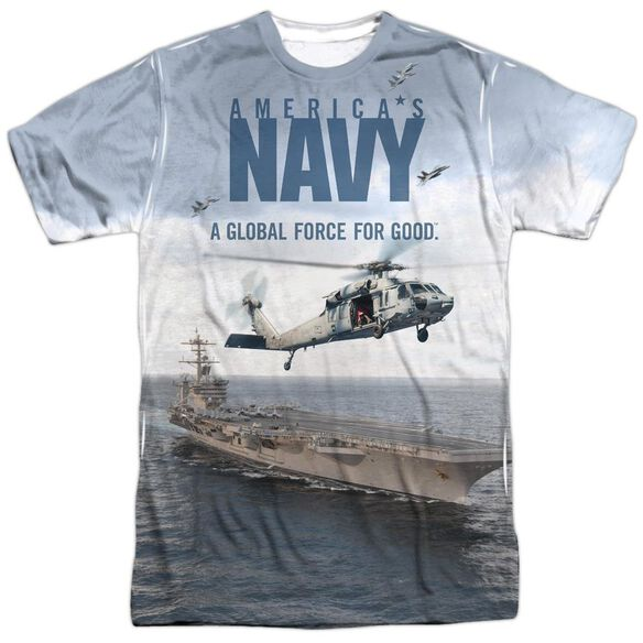 Navy Over And Under Short Sleeve Adult Poly Crew T-Shirt