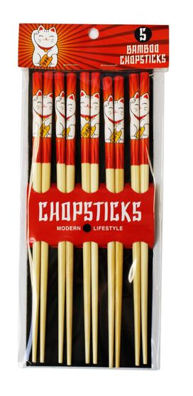 Maneki Cat Bamboo Chopstick [5 Pack]