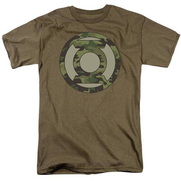 Green Lantern Camo Logo Short Sleeve Adult Safari Green T-Shirt