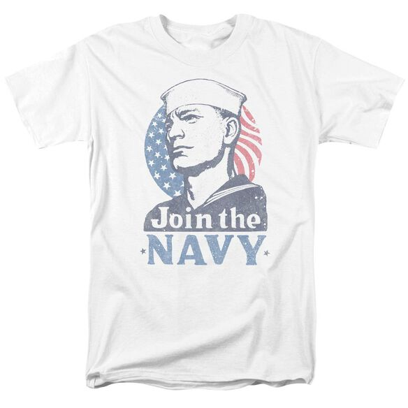 Navy Join Now Short Sleeve Adult White T-Shirt