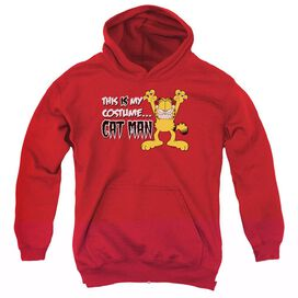 Garfield Cat Man-youth Pull-over Hoodie - Red