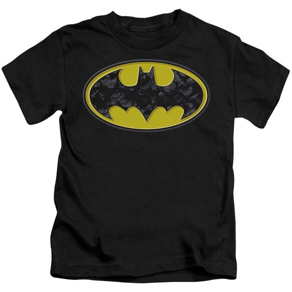 Batman Bats In Logo Short Sleeve Juvenile Black T-Shirt