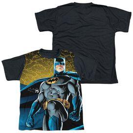 Batman 75 Glow Short Sleeve Youth Front Black Back T-Shirt