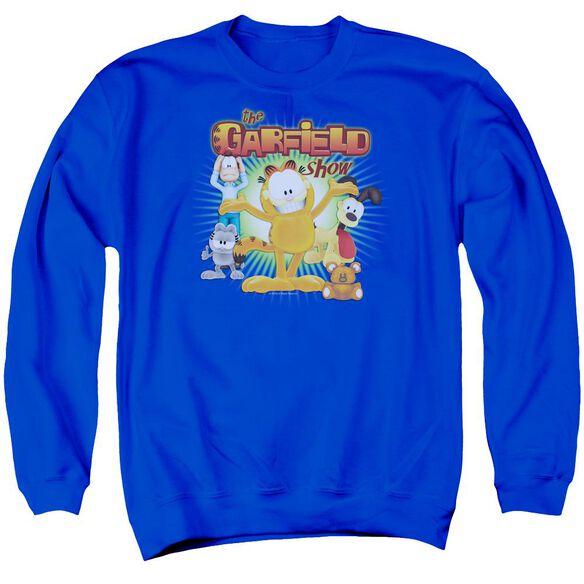 Garfield The Garfield Show Adult Crewneck Sweatshirt Royal