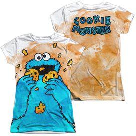 Sesame Street Cookie Crumbs (Front Back Print) Short Sleeve Junior Poly Crew T-Shirt
