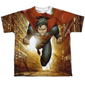 Superman Up Up City Short Sleeve Youth Poly Crew T-Shirt