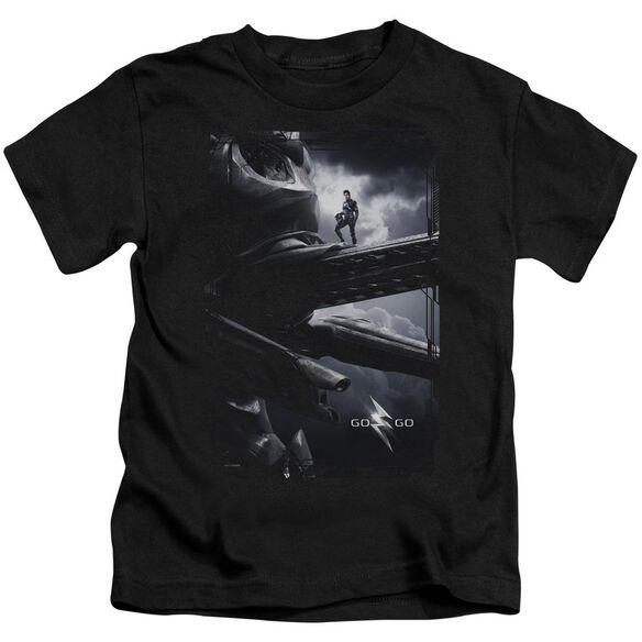 Power Rangers Black Zord Poster Short Sleeve Juvenile Black T-Shirt