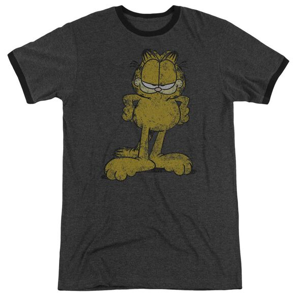 Garfield Big Ol Cat Adult Heather Ringer Charcoal