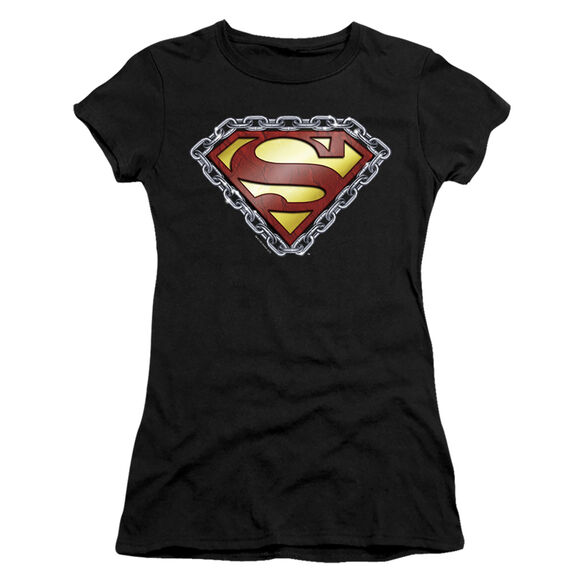 SUPERMAN CHAINED SHIELD - S/S JUNIOR SHEER - BLACK T-Shirt