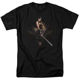 Batman V Superman City Girl Short Sleeve Adult Black T-Shirt