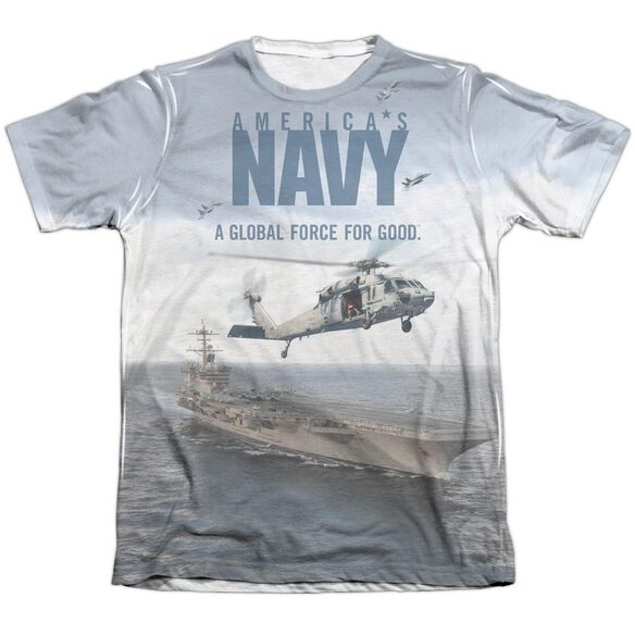 Navy Over And Under Adult Poly Cotton Short Sleeve Tee T-Shirt