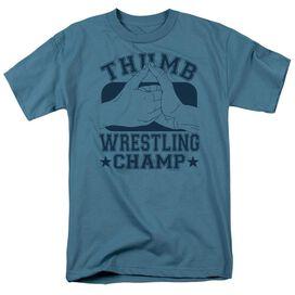 Thumb Wrestling Champ Short Sleeve Adult Slate T-Shirt