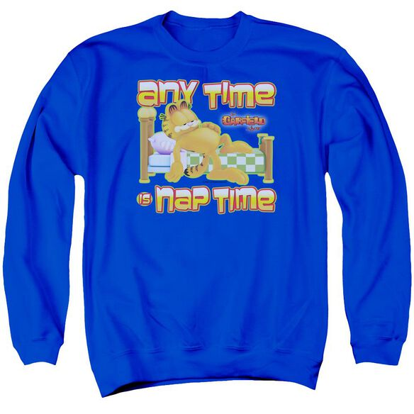 Garfield Nap Time - Adult Crewneck Sweatshirt - Royal Blue