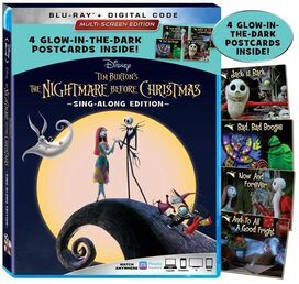 The Nightmare Before Christmas 25th Anniversary Sing-Along Edition Blu-ray [Exclusive Glow-in-the-Dark Postcards]