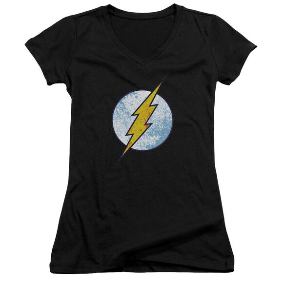Dc Flash Flash Neon Distress Logo Junior V Neck T-Shirt