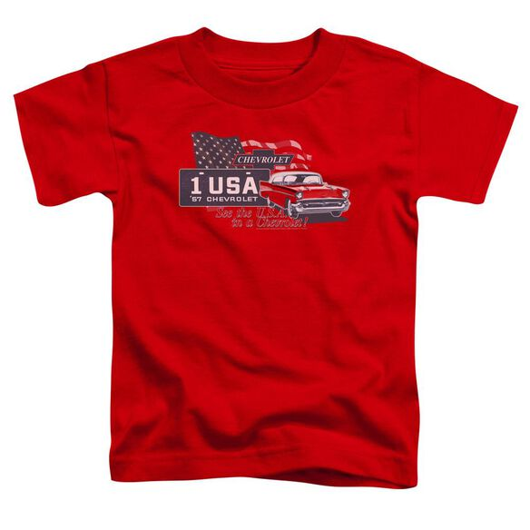 Chevrolet See The Usa Short Sleeve Toddler Tee Red T-Shirt