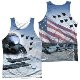 Air Force Pilot (Front Back Print) Adult 100% Poly Tank Top