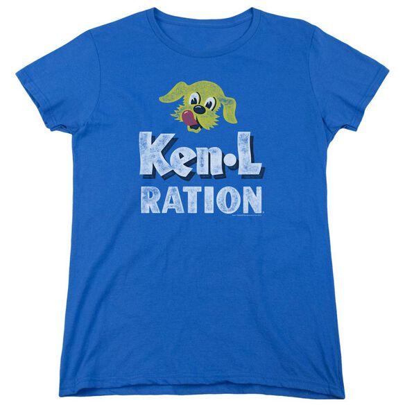 Ken L Ration Distressed Logo Short Sleeve Womens Tee Royal T-Shirt