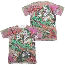 Suicide Squad Joker Psychedelic Cartoon (Front Back Print) Adult Poly Cotton Short Sleeve Tee T-Shirt