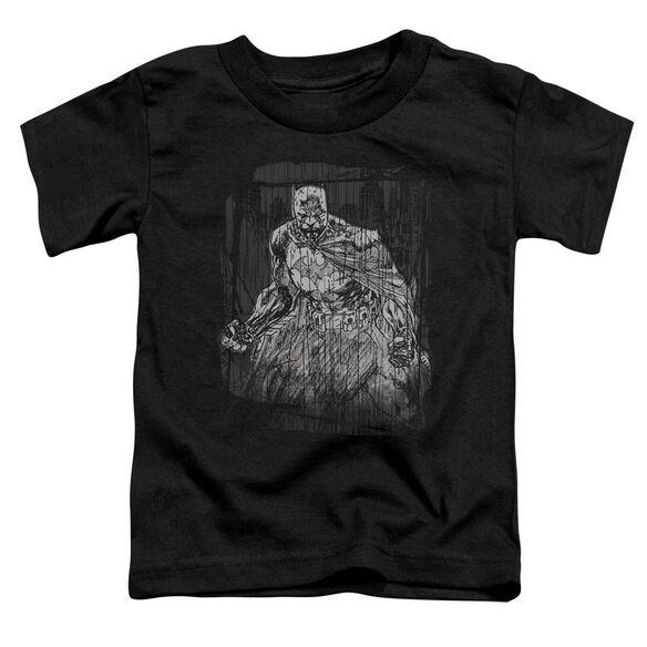 Batman Pencilled Rain Short Sleeve Toddler Tee Black Md T-Shirt