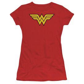 Dc Wonder Woman Logo Short Sleeve Junior Sheer T-Shirt