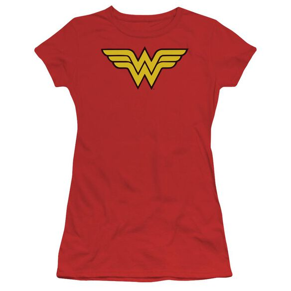 Dc Wonder Woman Logo Short Sleeve Junior Sheer T-Shirt