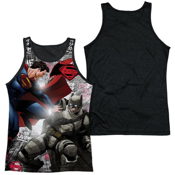 Batman V Superman Showdown Adult Poly Tank Top Black Back