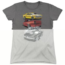 FAST AND THE FURIOUS MUSCLE CAR SPLATTER - S/S WOMENS TEE - BLACK - MD - BLACK T-Shirt